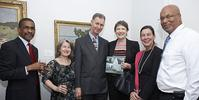 Mr.  Gary L.  Phillips, OBE JP; Mrs.  Margaret Fergusson; Governor, The Hon.  George Fergusson; Ms.  Helen Clark; Mrs.  Tricia Phillips; Minister, The Hon.  Bob Richards