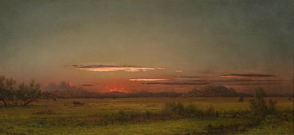 Martin Johnson Heade, New Jersey Salt Marsh, ca.  1875 - 1885, oil on canvas, 17 × 36 1/4 in.  Brandywine River Museum of Art.  Richard M.  Scaife Bequest, 2015
