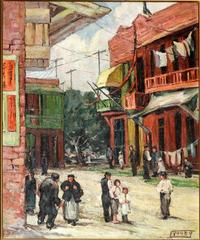 Florence Young (1872-1974) Street Scene, Circa 1932.  Oil on Canvas.