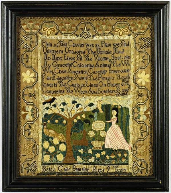 Fine and Rare Needlework Sampler, Betsey Gail, Marblehead, Massachusetts, circa 1790, Betsy Gail.  Est.  $60/80,000