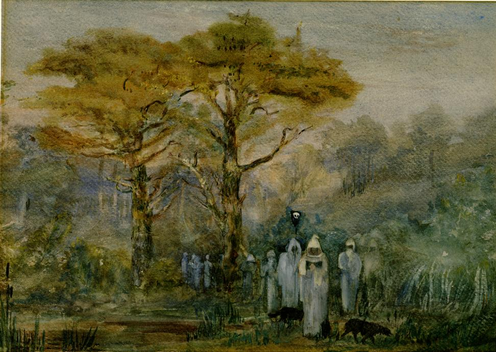 A hooded Procession, not dated.  Barbara Leigh Smith Bodichon (1827–1891).  Watercolor on paper, 10 1/16 × 14 9/16 inches.  Mark Samuels Lasner Collection, University of Delaware Library.