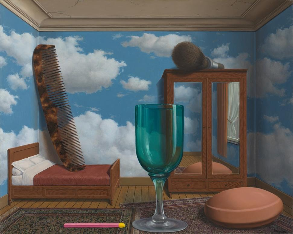 René Magritte, Les valeurs personnelles (Personal Values), 1952.  oil on canvas, 31 1/2 in.  x 39 3/8 in.  (80.01 cm x 100.01 cm); Collection SFMOMA, Purchase through a gift of Phyllis C.  Wattis; © Charly Herscovici, Brussels / Artists Rights Society (ARS), New York