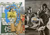 David Salle, Shooting, 1995, oil and acrylic on canvas, 213.4 x 302.3cm, Courtesy Skarstedt