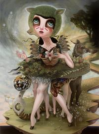Jennybird Alcantara, Creatures of Saintly Disguise, 2012.  Oil on wood, 65 x 48 in.  Courtesy of AFA Gallery.  © Jennybird Alcantara, All Rights Reserved.