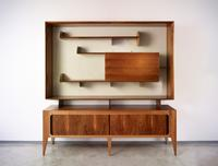 Giò Ponti (Italian, 1891–1979) Display cabinet, model 2140, 1951.  Made by Singer & Sons Italian walnut, lacquered wood and brass, 79 x 81 x 18 inches Museum of Fine Arts, Houston.  Museum purchase funded by the John R.  Eckel Jr.  Foundation, 2016.145.A-B