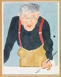 Self Portrait with Red Braces, 2003.  David Hockney (British, born 1937).  Watercolor on paper.  24 x 18 1/8 in.  Photo credit: Richard Schmidt © David Hockney