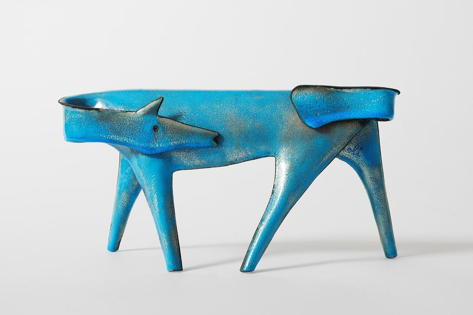 Giò Ponti (Italian, 1891–1979) and Paolo De Poli (Italian, 1905–1996) Horse, ca.  1956.  Enameled copper and silver.  8 x 16 x 4 inches.  Courtesy of Casati Gallery