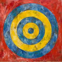 Jasper Johns, Target, 1961.  Encaustic and collage on canvas.  167.6 x 167.6 cm.  The Art Institute of Chicago © Jasper Johns / Licensed by VAGA, New York, NY.  Photo: © 2017.  The Art Institute of Chicago / Art Resource, NY / Scala, Florence