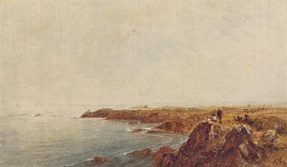 John Frederick Kensett (1816-1872), Seascape with Figures (Seascape), 1861, Signed, dated and titled, Oil on canvas, 6 3/8 x 10 inches.  Est.  $80,000-130,000