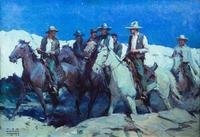 Lot 178: W.H.D.  Koerner (1878–1938), Sheriff and Citizens of the Law, 1932, oil on canvas, 30 x 36 in, Sold: $175,500