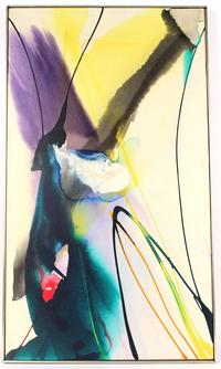 Acrylic on canvas abstract painting by Paul Jenkins (Am., 1923-2012), titled Phenomena Sleight of Hand, signed and dated 1969 (est.  $4,000-$6,000).