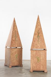 Pair of monumental marble veneered obelisks on pedestals (est.  $1,000-$1,500).