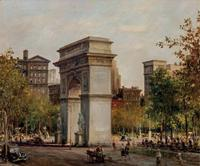 Lot 77, ALFRED S.  MIRA, American (1900-1981), Washington Square Park, oil on canvas, signed and dated, 25 x 30 inches, estimate $25,000-35,000 Sold for US$81,250