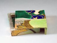 Nakamura Takuo, Set of stoneware c sculpted plaques creating an open box-like form decorated with kutani-glazed rinpa-inspired irises 2016 18/7/8 x 15 x 13 3/8 in.