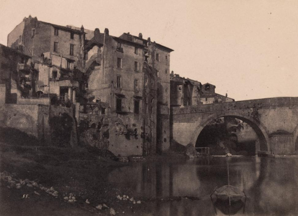 Firmin-Eugène Le Dien, French, 1817 – 1865.  Gustave Le Gray, French, 1820 – 1884.  Rome: Sortie du Pont Tescato au Trastevere, 1853.  Salt print.  Image and sheet: 9 3/8 × 12 15/16 inches (23.81 × 32.86 cm).  Mount: 13 13/16 × 19 3/16 inches (35.08 × 48.74 cm).  Gift of the Hall Family Foundation.  2016.75.136