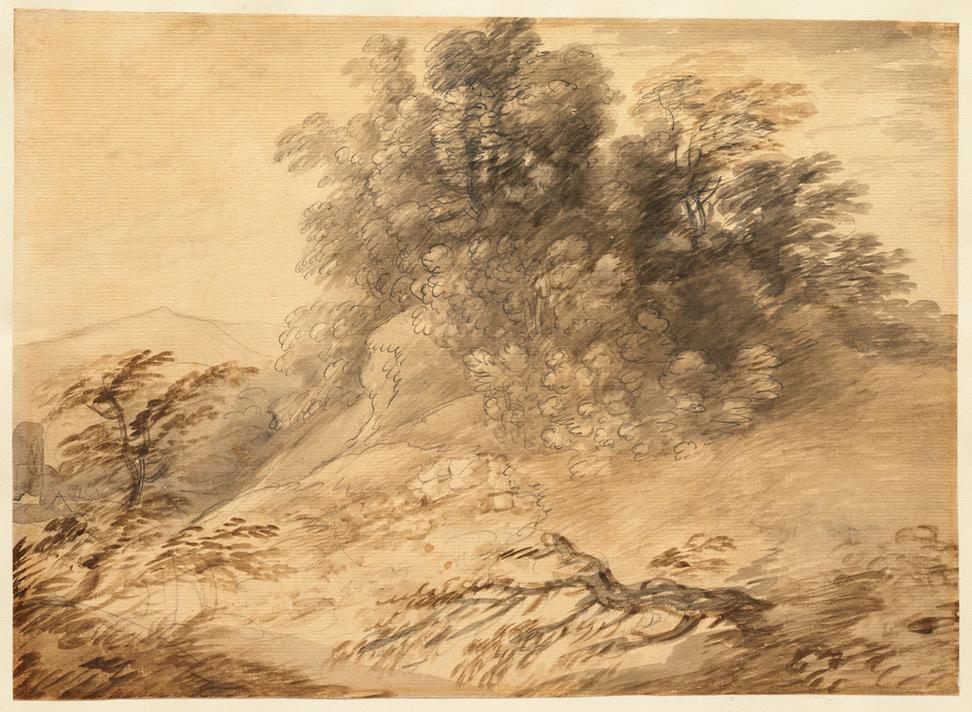 Thomas Gainsborough (English, 1727–1788) Landscape with a Clump of Trees on a Hillock, early 1760s.  Watercolor and graphite, with coating, on paper, 10 1/4 x 14 3/16 in.  Clark Art Institute, Gift of the Manton Art Foundation in memory of Sir Edwin and Lady Manton, 2007.8.66