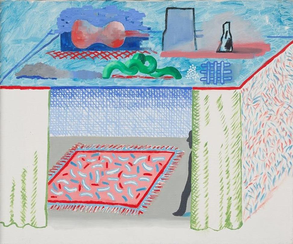 "David Hockney, ""In a Chiaroscuro"", Oil on canvas, 1976, 21.6 x 25.6 inches, Simon Capstick-Dale Fine Art, New York"