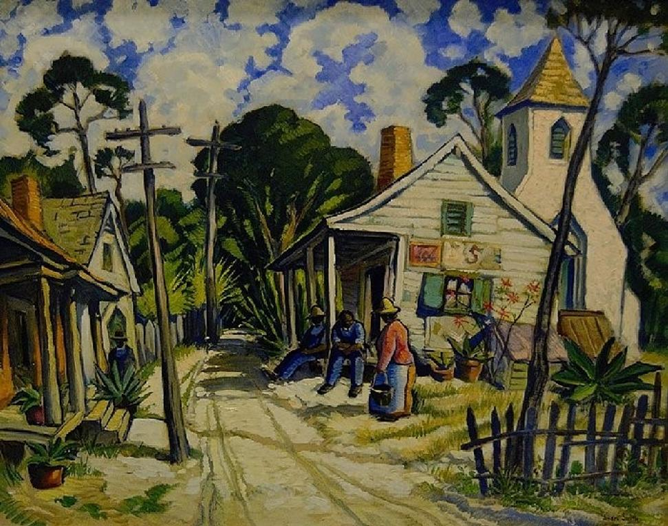 Jules André Smith, Untitled (Street Scene Eatonville), 1940, oil on Masonite.  Collection of the Maitland Art Center, ©Maitland Art Center.