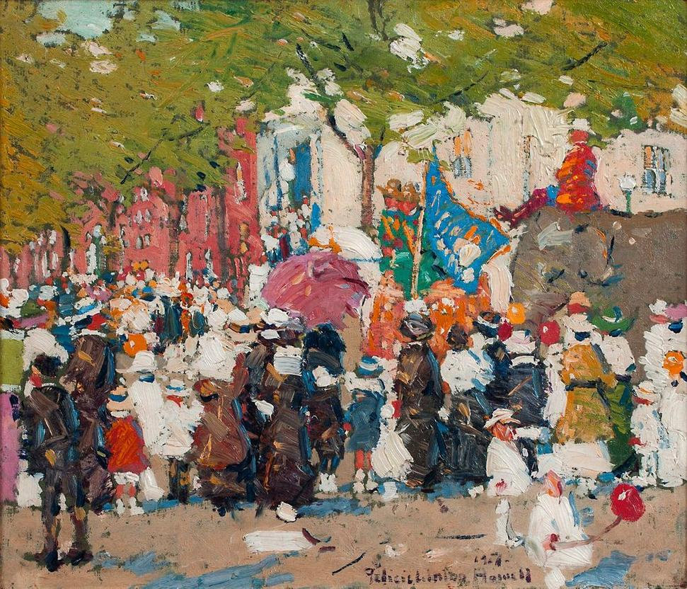 Felicie Waldo Howell (1897-1968) Red Cross Parade, NYC, 1917.  Oil on board, 12 x 14 inches.  Signed and dated 1917, lower right.
