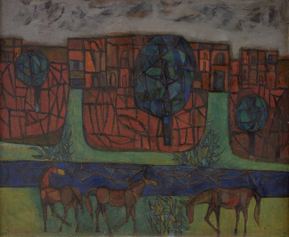K G Subramanyan, Untitled, Oil on Masonite board, 29.7 x 35.7 in.  Courtesy DAG Modern - India's Rockerfeller Artists.