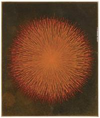 "Robert Walker, ""Hard Drawing: Orange Burst"", 2010, ink, fabric and resin on wood panel, 12 x 10 x 1 1/2 in."