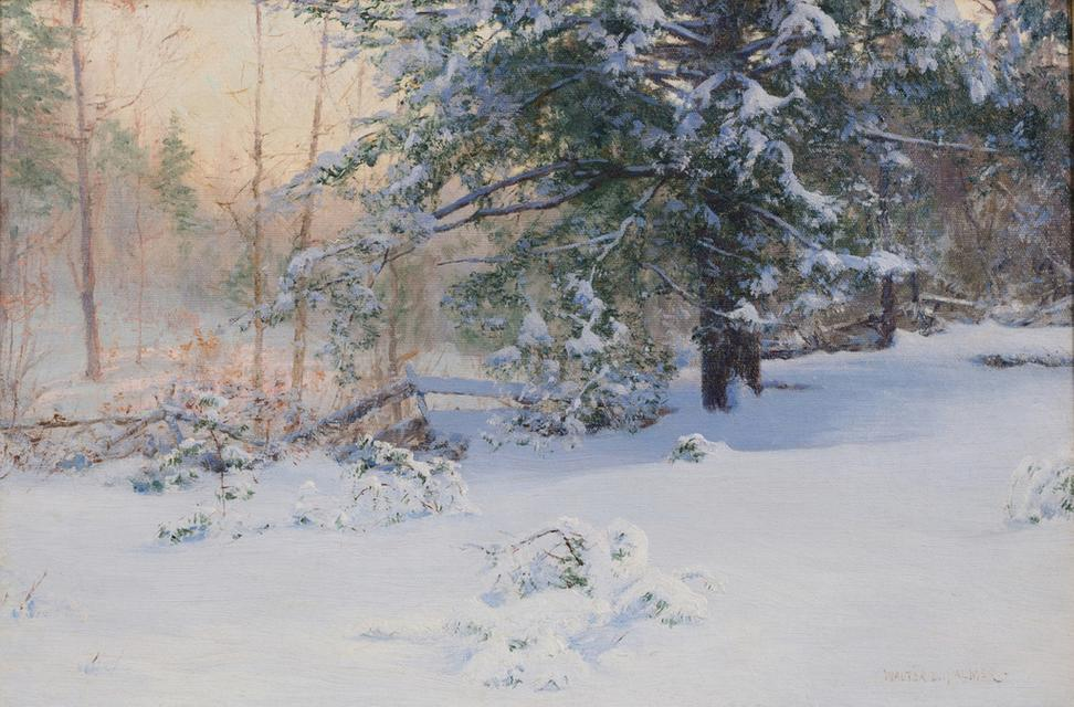 WALTER LAUNT PALMER (1854‒1932) The First Snow, 1898.  Oil on canvas.  16 x 24 inches.  Signed lower right