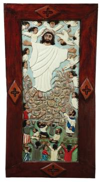 PLaque by Elijah Pierce.  Sold $24,675 at Garth's, Delaware, Ohio May 20, 2011.