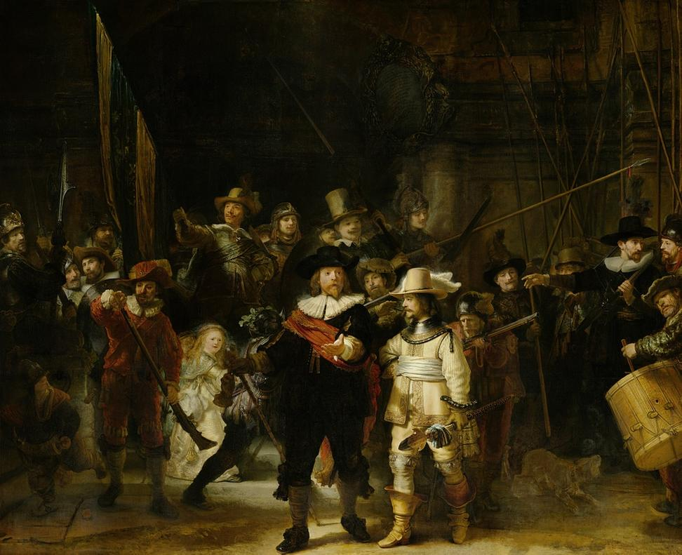 Rembrandt van Rijn, Militia Company of District II under the Command of Captain Frans Banninck Cocq, Known as the 'Night Watch', 1642.  On loan from the City of Amsterdam.