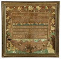 This silk and metal on linen sampler by Elizabeth King of Essex County, Massachusetts, 1765, sold to a phone bidder for $14,100.