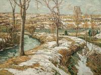 Lot 45, WALTER ELMER SCHOFIELD, American (1867-1944), Winter Landscape, oil on canvas, signed and dated, 45 x 60 inches, estimate $30,000-50,000 Sold for US$75,000