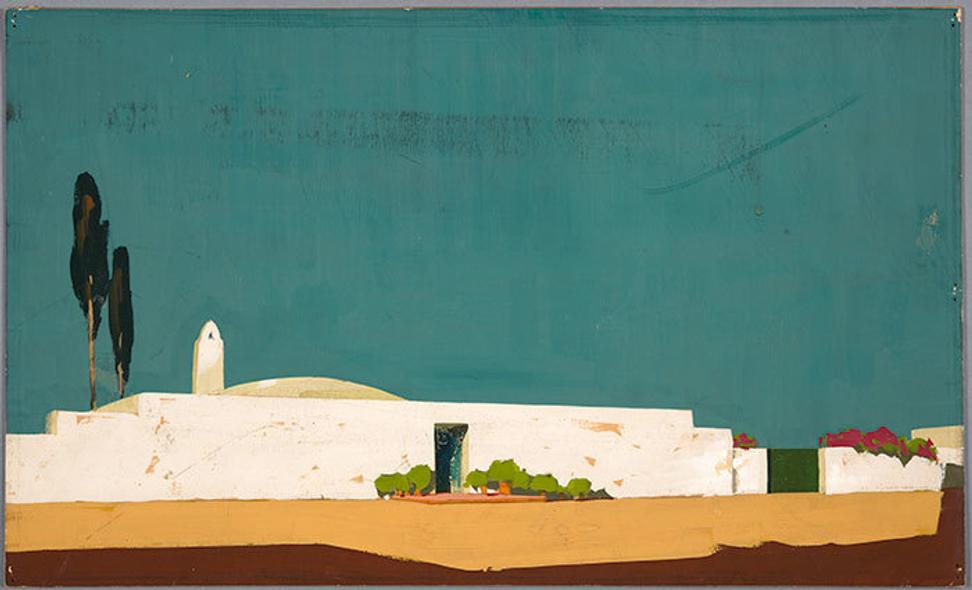 Wallace Neff (1895-1982), architect, Airform concept rendering for Manuel Reachi, Mexico, ca.  1945, Gouache on board, 10 5/8 x 17 5/8 inches.  © Courtesy of Mr.  Arthur M.  McNally Neff, on behalf of Wallace Neff, 2018.  The Huntington Library, Art Collections, and Botanical Gardens.