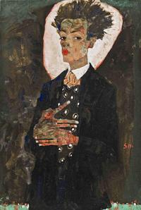 Egon Schiele.  Self-Portrait with Peacock Waistcoat, 1911.  Gouache, watercolor, and black crayon on paper, mounted on cardboard.  51.5 x 34.5 cm.  Collection of Ernst Ploil, Vienna.