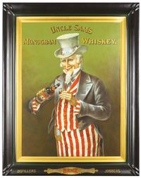 Uncle Sam's Monogram Whiskey self-framed tin sign, one of over 200 signs and calendars in the auction.