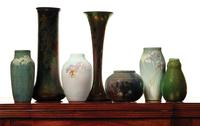 "Fine art pottery to be sold including New Orleans Newcomb College Vase by artist Henrietta Bailey(pictured far left).  The vase is signed and marked ""HD98"" under the base and carries a presale estimate of $1,600-1,800."