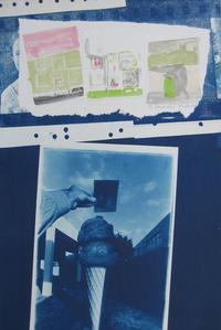 Artist: Darryl Curran Title: Untitled Year: 1974 Medium: Cyanotype with multi color gum pigment print on Rives BFK Courtesy of DNJ Gallery