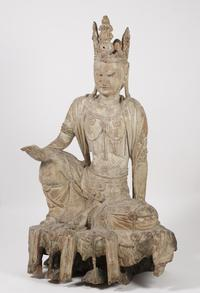 An Impressive 14th century Chinese Carved and Polychrome Wood Figure of Avalokiteshvara