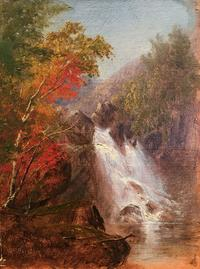 Susie M.  Barstow (1836-1923) Autumn Waterfall.  Oil on canvas.  6 1/6 x 5 inches.  Signed lower left.